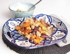 Couscous mit Süßkartoffel und gerösteten Paprika vegan