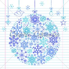 Winter Snowflakes Sketchy Doodle Christmas Ornament Vector Illustration