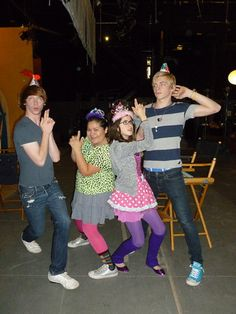 I'm not even going to ask. Laura Marano, Ross Lynch, Calum Worthy and Raini Rodriguez.