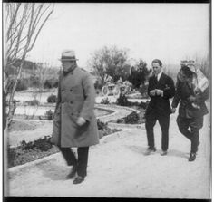Winston Churchill, T. E. Lawrence (Lawrence of Arabia) and Emir Abdullah walking in the gardens of the Government House, Jerusalem, during a secret conference. 1921 [1536x1453]
