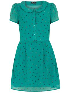 dorothy perkins Green Peter Pan Collar Dress-This is part of the Cutie collection. Green peter pan collar dress with an elasticated waist on the back.Length 90cm 95% Polyester,5% Viscose. Cool hand wash with mild detergent. Wash darks separately. Do not soak cool iron on reverse.