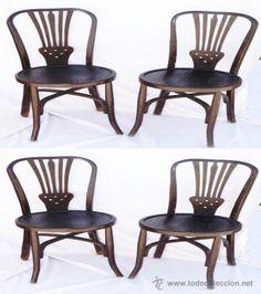 Silla antigua de madera pintada en blanco con asiento de - Sillas antiguas de madera ...