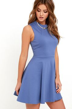 Simply chic and cute as a button, the Fun-Loving Slate Blue Skater Dress will take your dress game to a whole new level! Medium-weight stretch knit starts at a funnel neckline atop a sleeveless bodice with darting. Full skater skirt. Exposed gold back zipper.