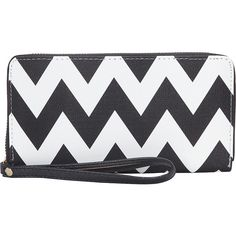 Rebecca & Rifka Chevron Zip Around Wallet Women's ($19) ❤ liked on Polyvore featuring bags, wallets, black, ladies clutch wallets, ladies wallets, credit card holder wallet, faux leather bag, zip around wristlet wallet, vegan bags and chevron print bag