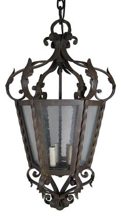 Heavy Forged Iron and Seeded Glass Lantern with Acanthus Leaves