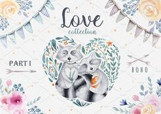 Love collection with raccoons by Peace ART on @creativemarket