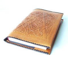 Leather Book Cover Vintage Unused Brown Large by MerilinsRetro, $25.00