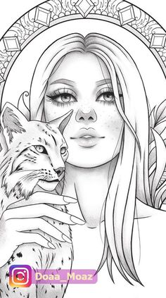 Adult coloring page - Fantasy girl Animal portrait Girl Drawing Sketches, Girly Drawings, Outline Drawings, Cool Drawings, Adult Coloring Book Pages, Printable Adult Coloring Pages, Coloring Book Art, Tumblr Coloring Pages, Colouring