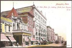 Memphis, Tennessee - West Side of Main Street North from Gayoso Hotel Vintage Postcard