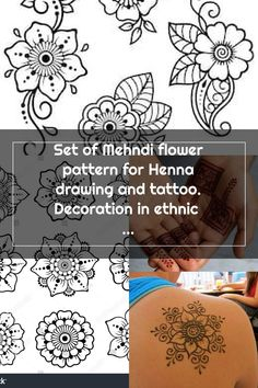 Set of Mehndi flower pattern for Henna drawing and tattoo. Decoration in ethnic oriental, Indian style. Henna Patterns, Flower Patterns, Mehndi Flower, Henna Drawings, Indian Style, Oriental, Ethnic, Decoration, Tattoos