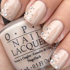 Nude Embellished Nails #diagonal