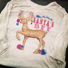 Bling a GoGo - Santa's BFF All White Baseball Burnout, $64.00 (http://www.bling-a-gogo.com/santas-bff-all-white-baseball-burnout/) #christmas #reindeer #holiday #santa #bff #merry