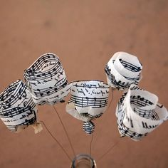 Five Vintage Sheet Music Tissue Paper Flowers  by TheSunnyB, $17.50