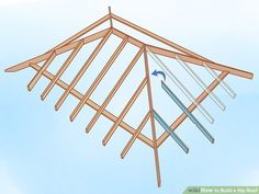 How to Build a Hip Roof: 15 Steps (with Pictures) - wikiHow Roof Joist, Roof Trusses, Gazebo Plans, Shed Plans, Hip Roof Design, Framing Construction, Diy Storage Shed, Timber Roof, Porch Addition