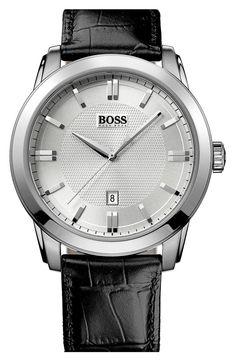 Boss Hugo Boss BOSS HUGO BOSS Round Leather Strap Watch, 44mm