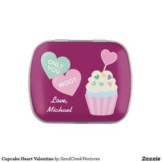 Cupcake Heart Valentine Jelly Belly Candy Tin