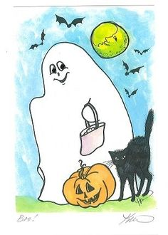 Halloween card by Altadena resident Karen Bagnard.  All cards are mounted and matted and can be framed.  $6.50 ea.
