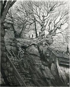 Gormenghast Tree by Ian Miller Gormenghast with Mervyn Peake High Fantasy, Fantasy Art, Illustrations, Illustration Art, Forest Sunset, Science Fiction, Steampunk, Medieval, Tree Artwork