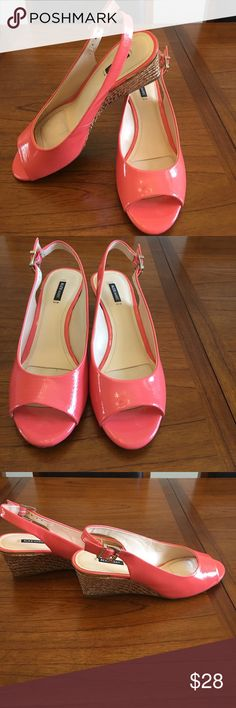 """Alex Marie Wedge Sandals Size 9 Leather Upper Coral Color Alex Marie Wedges. 3"""" Heel Height with tan roping around heels Alex Marie Shoes Wedges"""