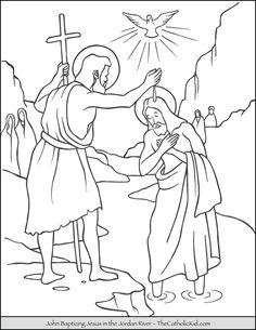 How to Color Anime Using Watercolor Elegant Coloring Saint John Baptizing Jesus In the River Coloring Jesus Coloring Pages, Free Printable Coloring Pages, Coloring Pages For Kids, Coloring Books, Sunday School Coloring Pages, John The Baptist, To Color, Saint John, Watercolor