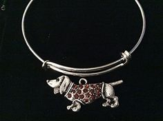 Red Crystal Dachshund Dog Silver Expandable Charm Bracelet Adjustable Wire Bangle