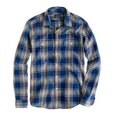 Flannel shirt in wild blue plaid from J.Crew. Boy I tell you, these guys make shirts in some damn fine colors.