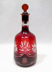 Vintage Cut Glass Cranberry Red Decanter