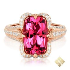 KAT FLORENCE Pink Tourmaline ring set in rose gold and surrounded by D Flawless accent diamonds - known as a heart stone, the Pink Tourmaline historically was worn to ignite passion for life. #KATFLORENCE #Passion #Tourmaline #PINK #jewelryinspiration #jewellerylove #jewellerywithmeaning