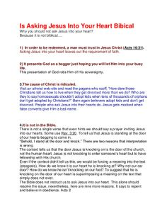 Is ssking jesus into your heart, biblical? The Word of God shows us otherwise.  Stop asking Jesus into your heart.  www.nopews.blogspot.com