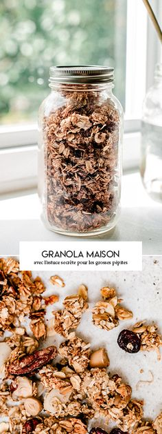 Homemade mega nugget granola recipe crunchy and with large nuggets The Breakfast Club, Breakfast Dessert, Granola Barre, Vegan Desserts, Cooking Time, Coco, Sweet Recipes, Healthy Snacks, Food Porn