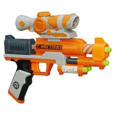 Eli: PLEASE DON'T BUY NERF GUNS (DARTS OK) UNLESS YOU TALK TO ME FIRST - WE HAVE TOO MANY, Nerf Zombie Strike Clear Shot, $17/TARGET