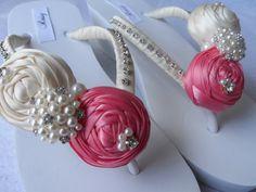 Wedge Coral & Ivory Rolled Flowers Flip Flops / Wedding Pearls Rhinestone Flip Flops / Bridal Sandals / Bridesmaids Shoes