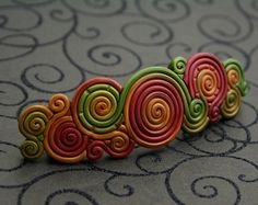 French Barrette in Autumn Colors Polymer Clay Filigree