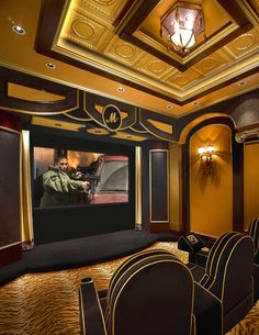 Home Theatre ~ Art deco style home movie/theatre...great visuals, audio + comfort...details!