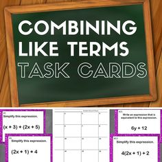 Combining Like Terms with Distributive Property: Task Cards in Action. Ideas for using task cards in the middle school classroom & getting students more fluent with combining like terms.