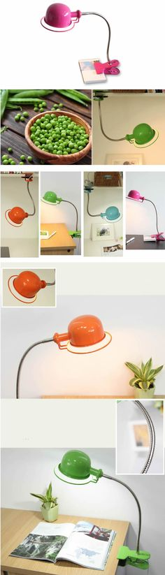 Metal USB Rechargeable Eye-Care LED Desk Lamp Clip-On Table Lamp with Flexible Neck