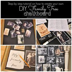 DIY Family Tree Photo Chalkbaord | KristenDuke.com via Your Homebased Mom