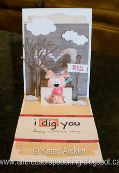 Karen Aicken using the Pop it Ups Lots of Pops, Heart Pivot, All Seasons Tree and Agatha Edges die by Karen Burniston for Elizabeth Craft Designs - Altered Scrapbooking: I Dig You, a Valentine Card