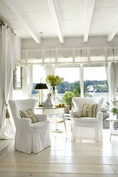 living rooms, beach cottages, floor, beach houses, white rooms, beam, porch, cottage style, sunroom