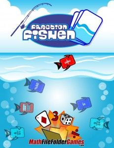 Fraction Fishin' Game (Fractions, Decimals, Per Cents & Equivalent Fractions) http://www.mathfilefoldergames.com/fraction-fishin-game-fractions-decimals-per-cents-equivalent-fractions/