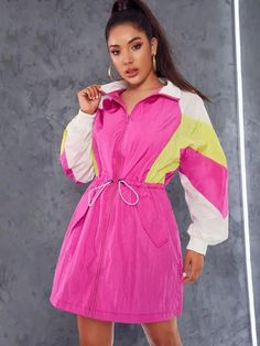 To find out about the Drawstring Waist Cut-and-sew Zipper Up Dress at SHEIN, part of our latest Jackets ready to shop online today! Dress P, Jacket Dress, Dress Outfits, Fashion Outfits, Skirt Pants, Jackets For Women, Clothes For Women, Latest Dress, Drawstring Waist