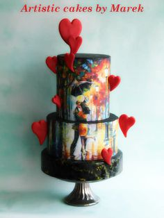 Valentine's day by Marek Gorgeous Cakes, Pretty Cakes, Amazing Cakes, Creative Desserts, Creative Cakes, Cupcakes, Cupcake Cakes, Super Torte, Fondant Cake Designs