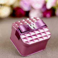 """Pink tin favor box, with """"w"""" initials. Get 20 sets for $25.95 + free shipping."""