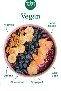 Feed Your Resolution: Vegan Smoothie Bowl // Rise and shine with a creamy base o. Going Vegetarian, Going Vegan, Vegetarian Recipes, Vegetarian Sandwiches, Vegetarian Breakfast, Vegetarian Dinners, Vegetarian Cooking, Vegan Foods, Vegan Dishes