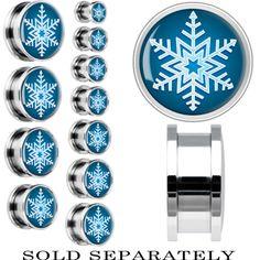 Steel Blue Holiday Snowflake Screw Fit Plug | Body Candy Body Jewelry #bodycandy