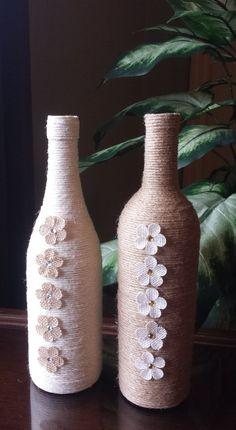 Stunning Twine Wrapped Wine Bottle di StunningBottlesArt su Etsy