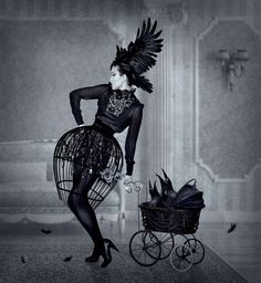 Gothic Raven Photography - Natalie Shau 'Fashion Works' Moves Away from Typical Digi-Art (GALLERY) Raven Photography, High Fashion Photography, Artistic Photography, Gothic Photography, Portrait Photography, Gothic Fashion, Dark Fashion, Fashion Vintage, Baroque Fashion