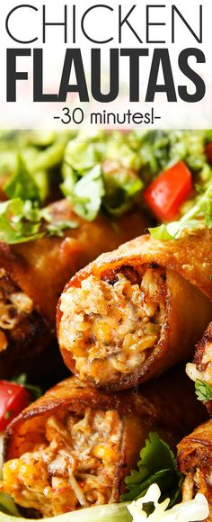 These Chicken Flautas are easy, cheesy, shatteringly crispy and on your table in 30 minutes! (Baking, Frying and Air Frying Methods Included) #flautas #taquitos #tortillas #chickenrecipes #chicken #chickenbreasts #Mexicanfood #Mexicanrecipes #dinner #dinnerrecipes #dinnerideas #recipes #easyrecipe #recipes #recipeoftheday #recipeideas #recipe #30minutemeals via @carlsbadcraving