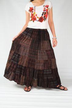 Hippie Bohemian Girl, Patchwork Checked Pink Tone Soft cotton Skirt (ks6)