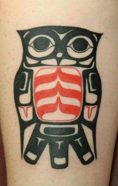 Tribal owl. Tantrix Body Art.